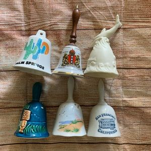 Lot of Six Souvenir Decorative Collector Hand Bell